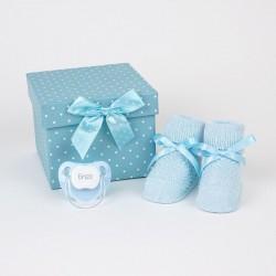Cajita regalo patucos y chupete personalizado