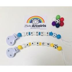Chupetero de silicona personalizado balón de fútbol