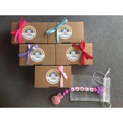Caja regalo chupetero + bolsa de organza