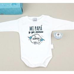 """Caja Regalo especial papá: body + chupete """"mi papá y yo somos súper"""" Azul"""
