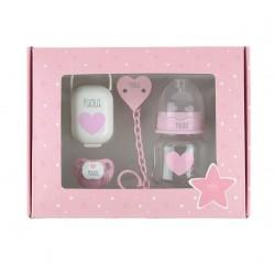 Caja regalo bebé kit chupete y biberón personalizados