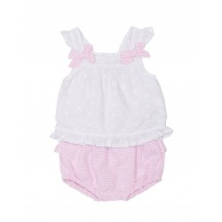 Conjunto lazos rosa bebé niña