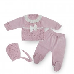 Conjunto perlé rosa bebé niña