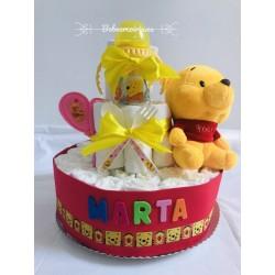 "Tarta pañales ""Winnie The pooh"" rosa"