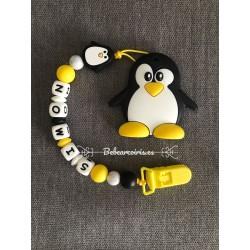 Pack chupetero mordedor mini + mordedor a juego pinguino