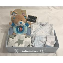 Canastilla bebé personalizada niño azul