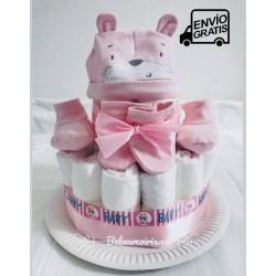 """Tarta de pañales """"Kit del Recién nacido"""" color rosa"""