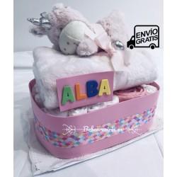 "Tarta pañales ""unicornio"" rosa"