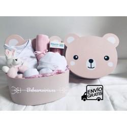 Canastilla bebe personalizada osito rosa