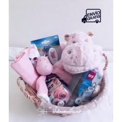canastilla bebe hipopótamo rosa