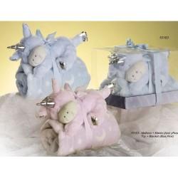 Manta bebé y peluche unicornio