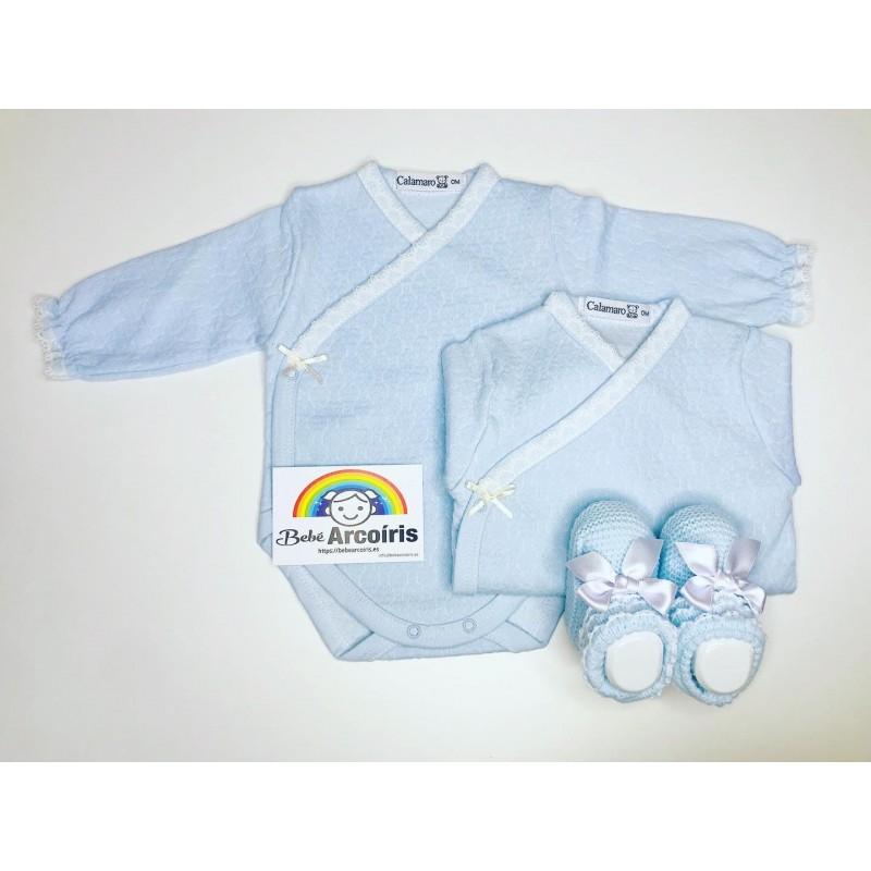 Body bebé recién nacido celeste cruzado