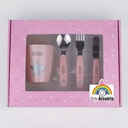 Estuche cubiertos  acero y vasito personalizados rosa