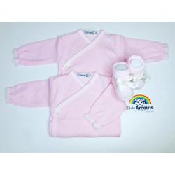 Body bebé recién nacida rosa cruzado