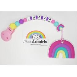 Chupetero mordedor silicona personalizado arcoíris