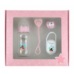 Caja regalo bebé kit chupete y biberón 300ml personalizados