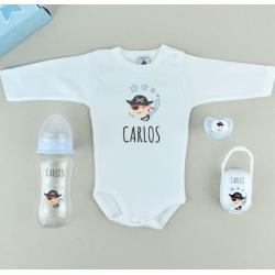 Caja regalo bebé chupete, body y biberón 300ml Hada o pirata personalizados