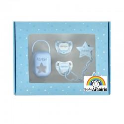 Caja regalo bebé kit chupete personalizado azul