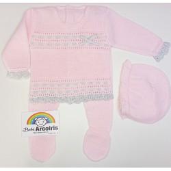 Conjunto bebé hilo rosa y...