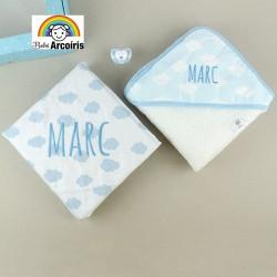 Caja regalo bebé nubes personalizada azul