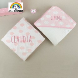 Caja regalo bebé nubes personalizada rosa