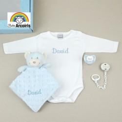 Caja regalo bebé personalizada con body azul