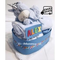 "Tarta pañales ""unicornio"" azul"