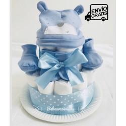 """Tarta de pañales """"Kit del Recién nacido"""" color azul"""