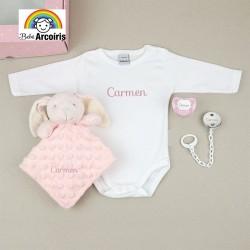 Caja regalo bebé personalizada con body rosa