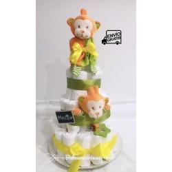 Tarta de pañales bebé mono verde