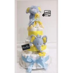 Tarta de pañales bebé elefante