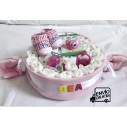 Tarta de pañales bebé caramelo