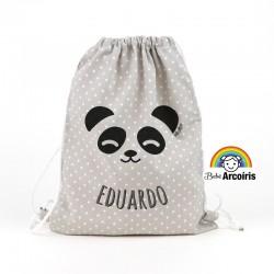 Petate infantil personalizado Panda gris
