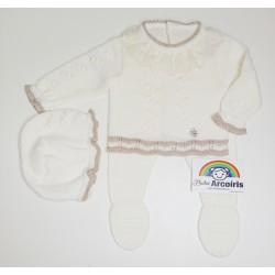 Conjunto bebé lana marfil