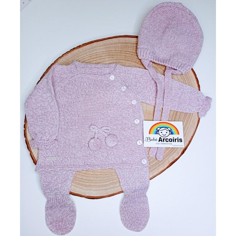 Primera puesta bebé lana lila