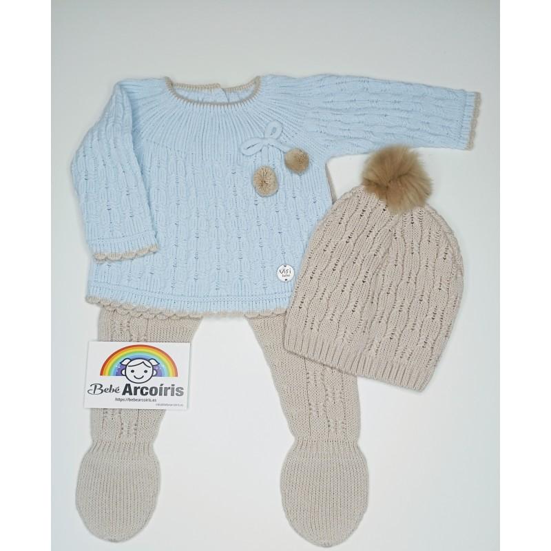 Primera puesta bebé lana celeste
