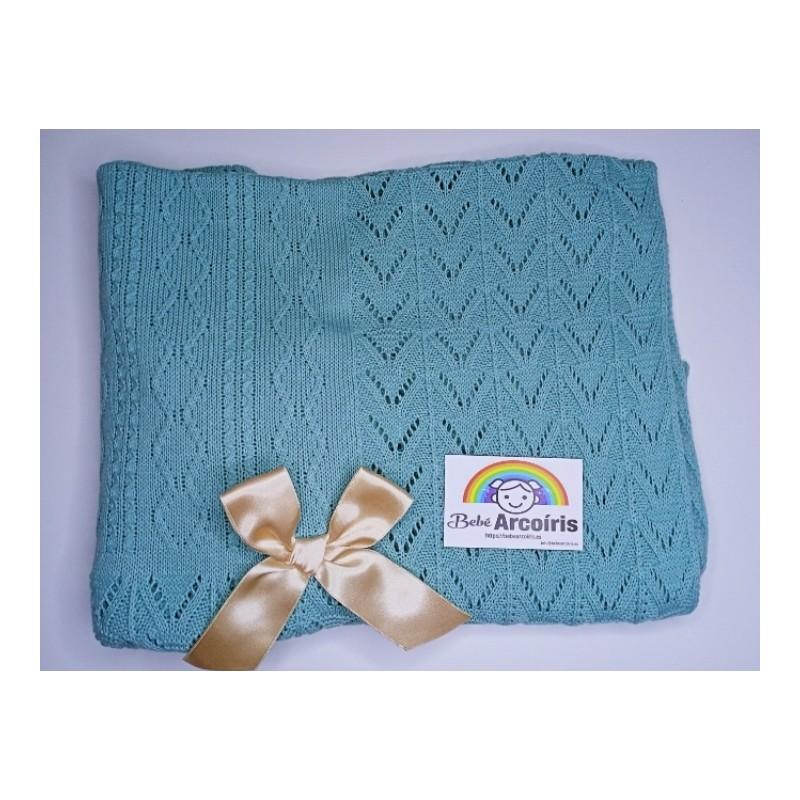 Toca toquilla bebé lana Aqua