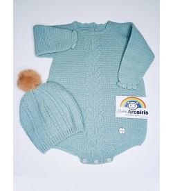 Pelele bebé lana con Gorrito